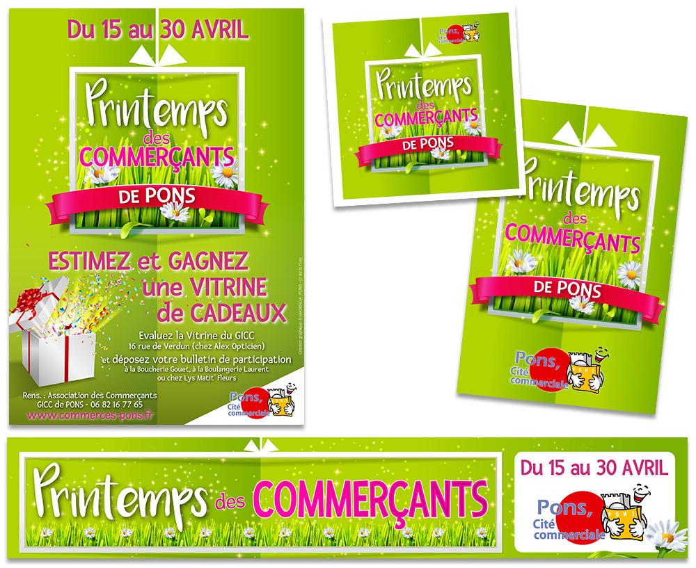 Pons Actions Commerciales - E-magencia graphiste - Affiche Banderole Drapeaux