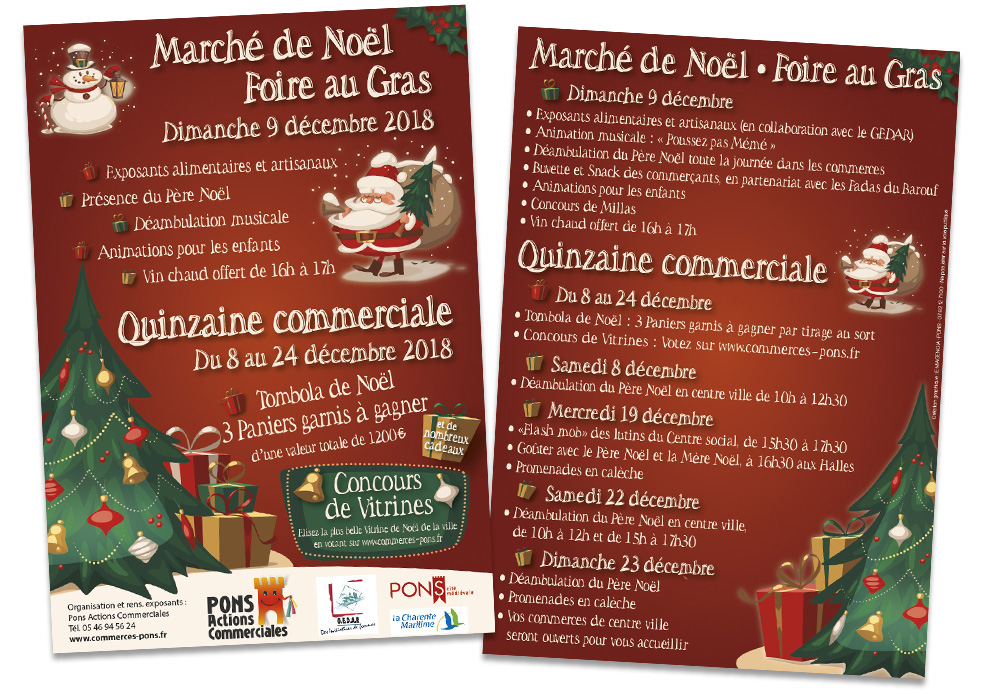 Pons Actions Commerciales - E-magencia graphiste - Affiche flyer Noel