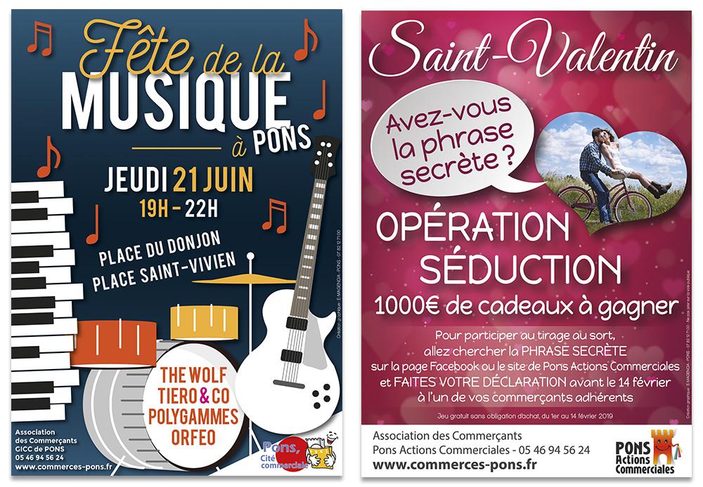 Pons Actions Commerciales - E-magencia graphiste - Affiches Fête de la Musique - Saint valentin