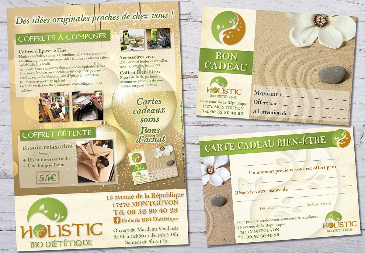 Holistic Bio Diététique - E-magencia graphiste - flyer et carte cadeau Noel