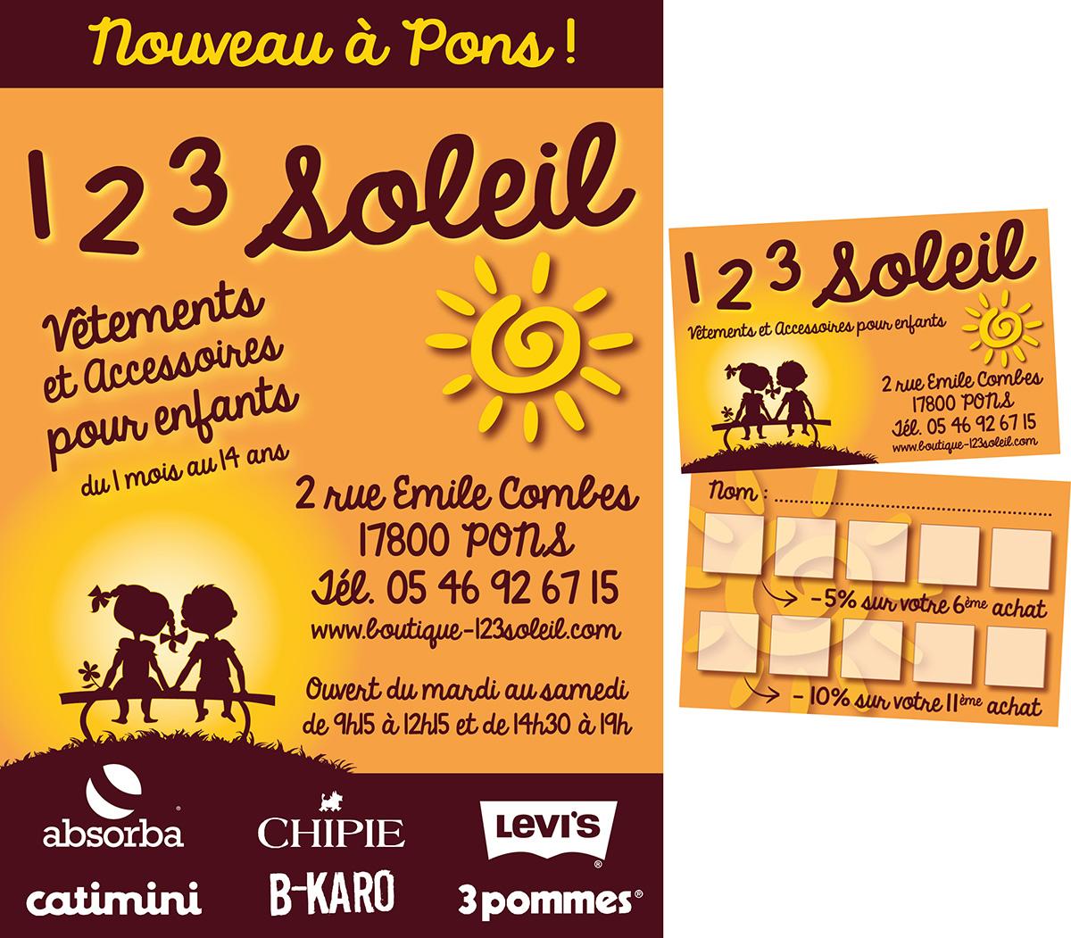 E-magencia - graphiste - 1 2 3 soleil - Flyer et carte de fidélité
