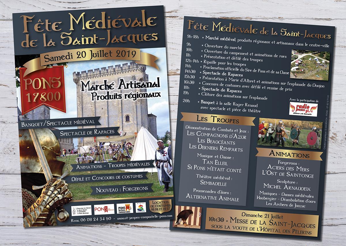 Flyer Fête médiévale Pons 2019 - E-magencia graphiste