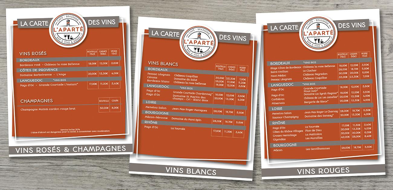 L'Aparté - Création graphique Carte des vins restaurant