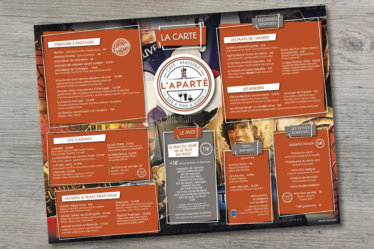 L'Aparté - Création graphique Set de table restaurant