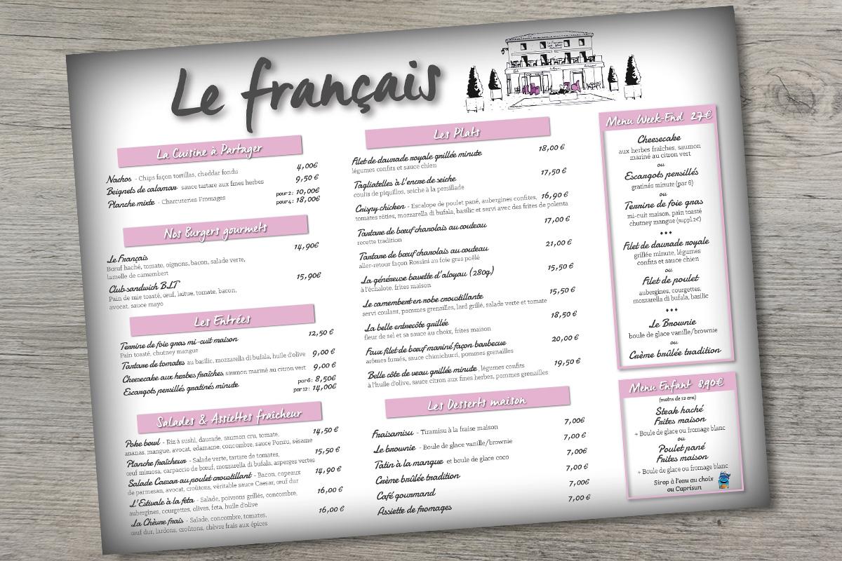 Le Français - Création graphique Set de table restaurant