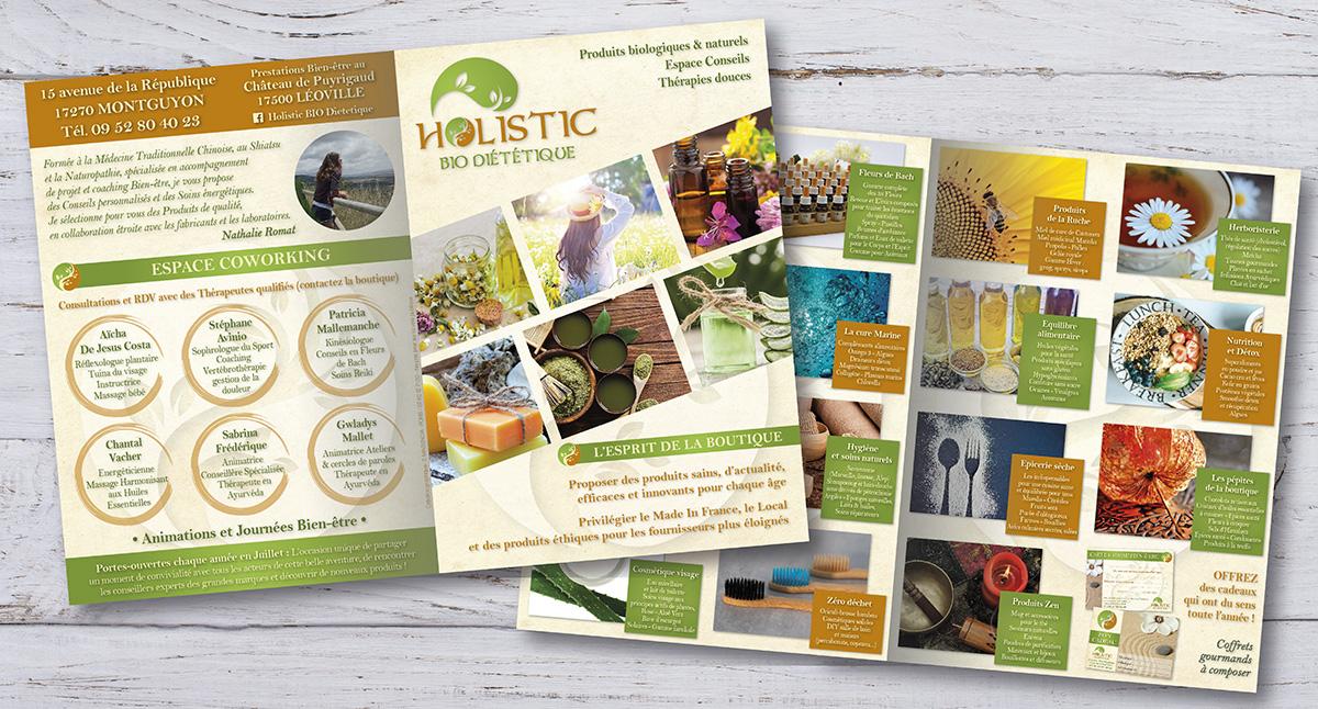 Holistic Bio Diététique - E-magencia graphiste - Brochure cartonnée 2 volets A4