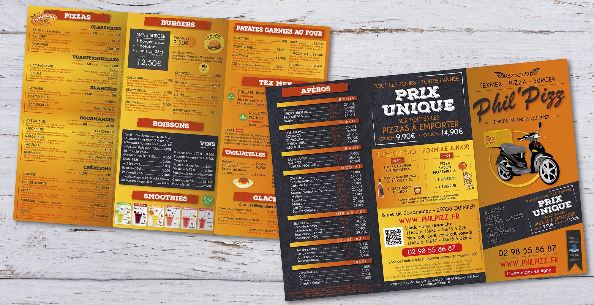 E-magencia - portfolio - Brochure Menu Pizzeria Phil Pizz