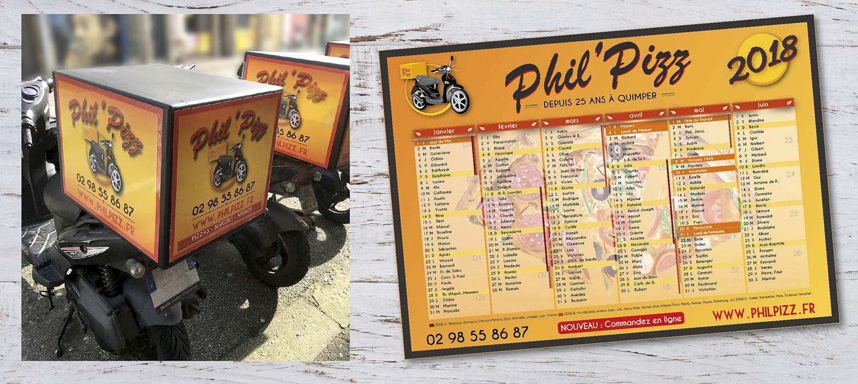 E-magencia - portfolio - Pizzeria Phil Caisson scooter Calendrier